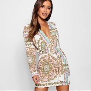 Boohoo petite chain print dress sz10